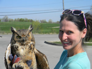 Cassie and great horned owl