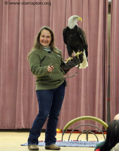 Kay and Thora talking to the big crowd (really!) at the 2016 Clinton Bald Eagle Day!