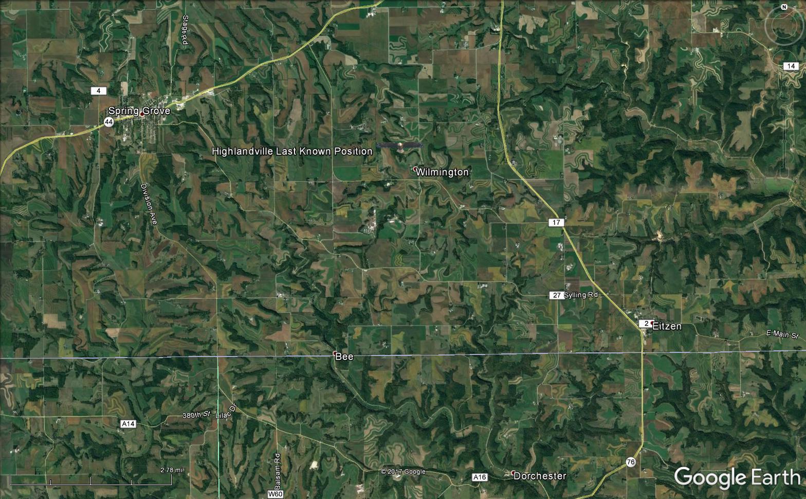 Highlandville map 20 June 2017